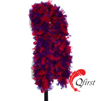 Newest design plumage scarf dyed red and regal purple mixed fluffy turkey feather boas