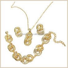 Three kinds gold jewelry set,necklace earring and bracelet