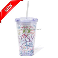 Double wall Clear Names of Jesus Tumbler with straw