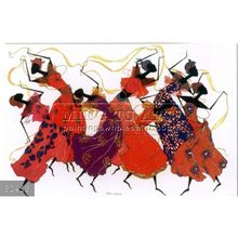 100% Hand made abstract african dancers oil painting, dancing ribbons