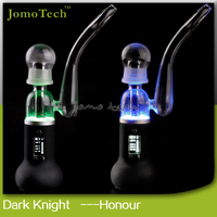 2015 hot new product dry herb vaporizer water pipes glass smoking with ceramic heating dark knight honor