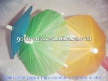 solid color small paper cocktail umbrella sticks