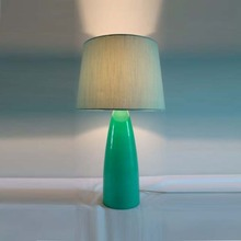 Promotional antique green turquoise glass blown hand painted grey hair lighting company led light bedroom home goods table lamp