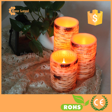 Set of 3 Resin Flameless Battery Operated LED Candles Remote Control With Warm Amber and Color Changing Modes