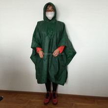 Kids fashionable clear 100% waterproof green color plastic polyester hooded rain cape