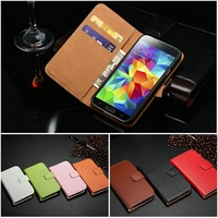 Genuine leather cell phone wallet case pouch for Samsung Galaxy S5 I9600 bill site stylish handmade
