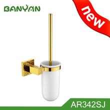 Gold toilet bowl brush set