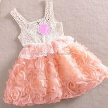152 2015 wholesale summer fashion hot sale New sleeveless lace chiffon rose princess girls dress 3 colors