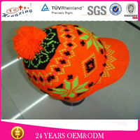 Pom-pom Knitted cuff Beanie/Custom Jacquard Knitting Pattern Cable Hat