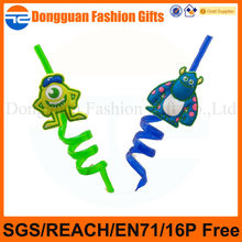 factory directly plastic PVC cartoon decoration character drinking straws for bars