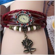 2015 New Fashion Hot Colorful Vintage Women Watches Weave Wrap Leather Bracelet Wristwatches Sunflower Rose Quartz VW008