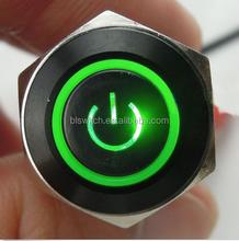 Aluminium coated black LED illuminated Momentary Push Button Switch with power symbol LED and RING LED