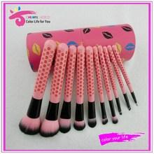 Beauty needs lip pattern 10pcs cosmetic travel brush set with cylinder