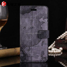 Mysterious retro map pattern leather flip case for iphone6