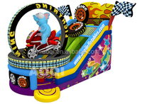 2015 new design moto racing colorful printing inflatable slide for fun