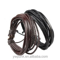 Adjustable Black Leather Bracelets Handmade Coffee Straps Wholesale Jewelry Chinese bracelet popular 2015 hot sell in USA