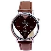 hot women's fashion lover heart design face 13 colors leather strap lady casual quartz watch