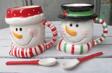 new design ceramic christmas snowman shaped coffee mug