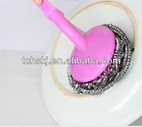 plastic pink handle stainless steel scrubber