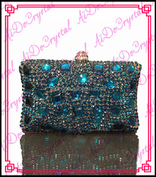 Aidocrystal blue rhinestone handle bag with shoulder chain Western Style famous chinese brand