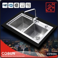 Double Big Bowl Kitchen Stainless Steel Sink Overflow