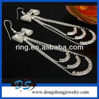 Rhinestone crystal butterfly big dangle earrings