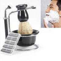 New Arrival Promotion Professional 4 In 1 Men Safety Shaving Brush Dish Stand Shave Hair Razor Kits Beard Clean Sets For Male