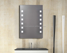 Fluorescent Bathroom Mirror with Stainless Steel Frame in Polished Chrome Finish