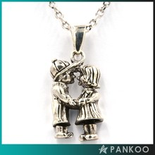 Funny Sweet Lovers Design 925 Sterling Ancient Thai Silver Pendant