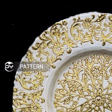 DAYA 13inch wholesale anique events round gold white pattern clear charger plate for wedding decoration