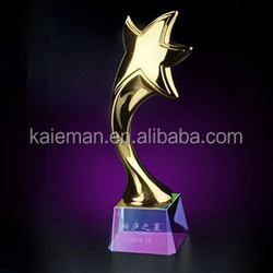 Crystal trophy custom metal trophy upscale five-pointed star trophy