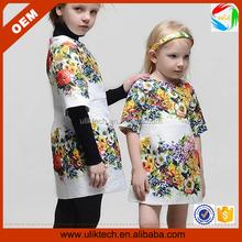 European style kid dress floral printed girl frocks design (Ulik-A0093)