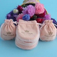 2014 Popular Promotional Comestic Lace Velvet Bags round shape