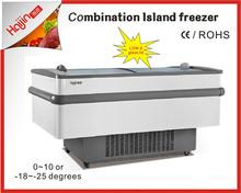 Skin island refrigerator with Low-E glass lids and auto defrost Island fridge
