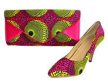 2014 lady bag wax print italy matching shoes and bags high wheel wholesale