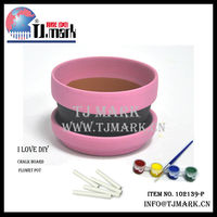 chalkboard painted terracotta clay flower pots with tray