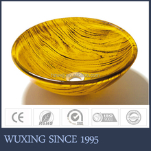Yellow colored new style high reputation beautiful round shape basin washing hair for bathroom