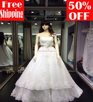 2015 Free shipping A line floor length small train lace appliques with sashes sweetheart lace up wedding dresses LW001