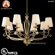 Oriental Brass Lamp in Bronze Color with White Fabric Shade
