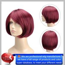 Wholesale Short yaki bob hair wig,mesh weaving wig cap,glueless full lace 100% synthetic hair wig