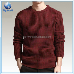 Long sleeve textural knit sweater, Ribbed knit round collar pullover sweater, 100% cotton men's sweater