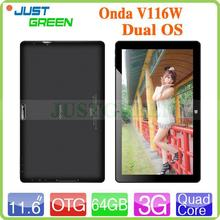 low price Onda 11.6 inch Intel Z3736F Windows8.1+Android 4.4 DUAL OS dual os android tablet pc Audio RAM 2GB ROM 64GB