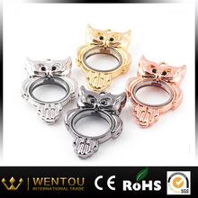 owl floating charm locket with rhinestone