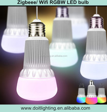 made in China rgbw smart zigbee led bulb,E27 base, 500lm ,remote control light dimmer/color change