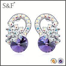Cheap Prices!! Latest Design Popular Zircon gold earrings new model 2012