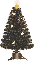 Wholesale High Quality Fiber Optic Gold Angel Black Christmas Tree Ornament