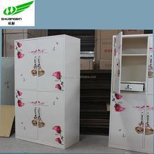 fancy bedroom , detachable steel cabinet wtih heat print flower image