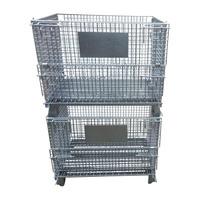 Heavy duty foldable storage rigid metal welded wire cage