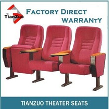 T-C18 RED Upholstered fabric folding floor theatre seats with wood armrest