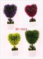 Atacado de plástico nointerior da planta artificial de coração- em forma de planta bonsai